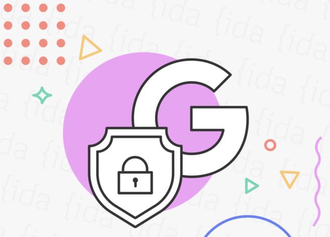 Logo de Google con un escudo que tiene un candando en su interior.