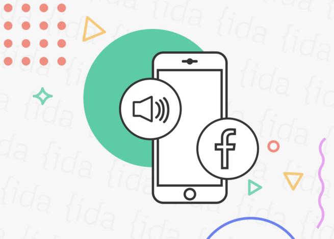 Smartphone con el logo de facebook y un parlante que hace referencia a Live Audio Rooms.