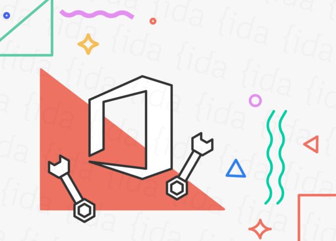 Logo de Microsoft Office con dos herramientas a su lado.