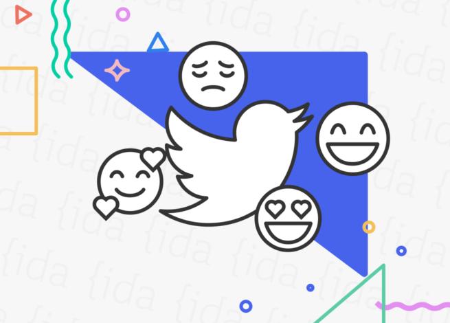 Logo de Twitter con emojis a sus costados.