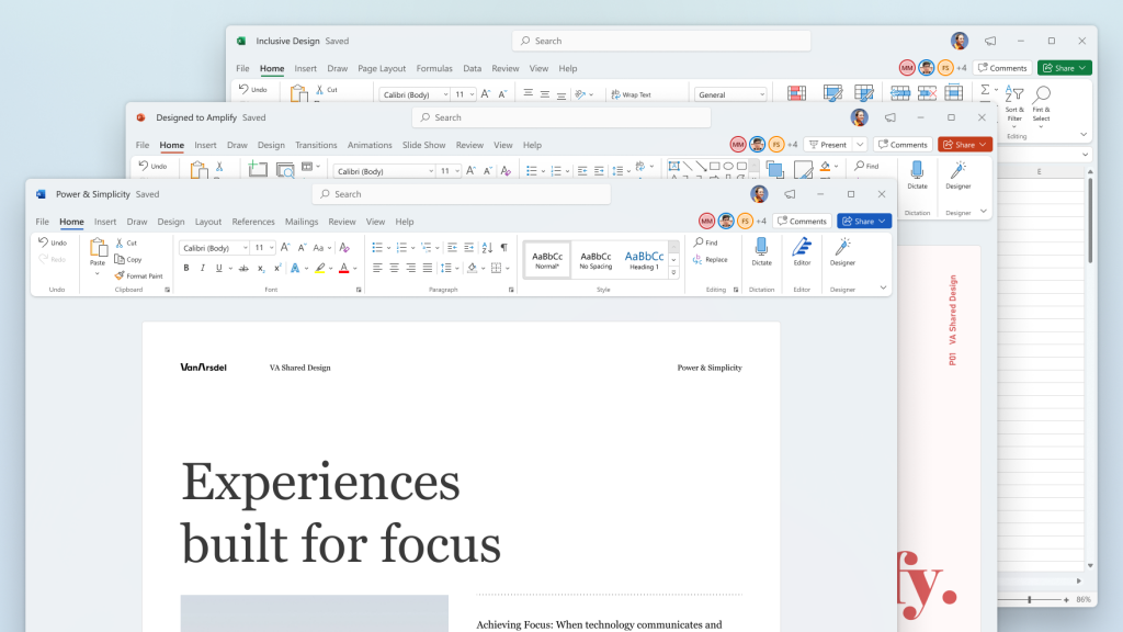 Nuevo diseño de Word, Power Point y Excel.