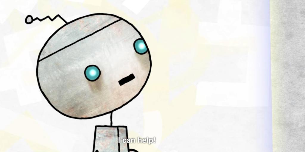 """Imagen de un robot con un texto que dice """"I can help!"""""""
