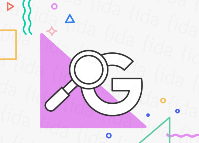 Lupa con el logo de Google por debajo.