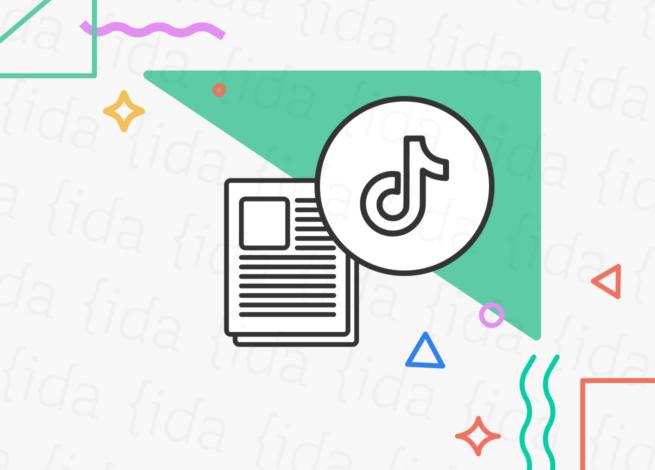 Logo de TikTok con un currículum a su costado.