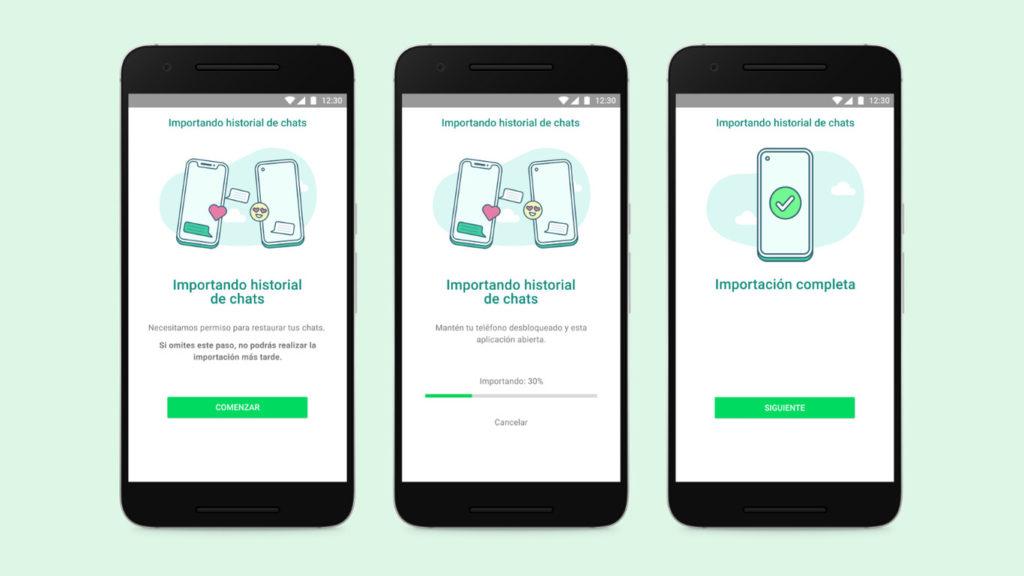Funcionamiento de la nueva opción de WhatsApp que permite transferir datos entre dispositivos.