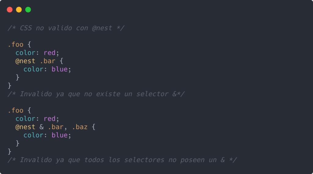 CSS no valido con @nest