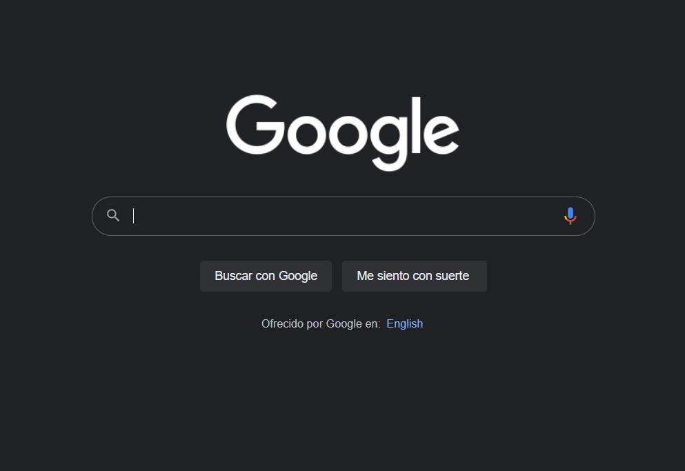 Modo oscuro de Google
