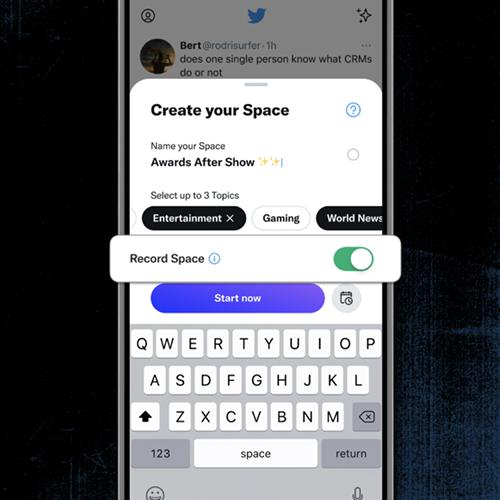 Pestaña para grabar el contenido de Twitter Spaces.
