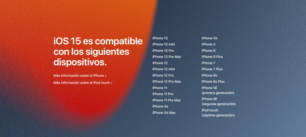 Dispositivos compatibles con iOS 15.
